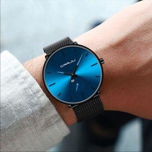 Blue New Men Mesh Steel Waterproof Sport Watch